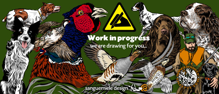 hunting theme iluustrations - drawing bird and small game - bird dog design